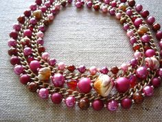 1950s Pink and gold vintage necklace by GlobalBrights on Etsy