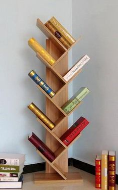48 Trendy home library ideas diy bookshelves book storage Tree Bookshelf, Bookshelf Design, Wall Shelves Design, Bookcase Storage, Book Storage, Wood Shelves, Storage Ideas, Diy Storage, Book Racks