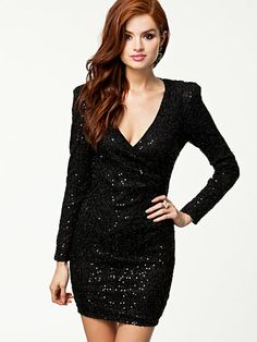 Sequin Wrap Over Dress - Ax Paris - Zwart - Feestjurken - Kleding - Zij - Nelly.com