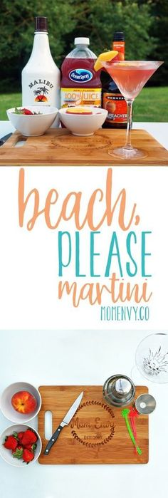Beach, Please Martini from Mom Envy. Try this super easy cocktail recipe perfect. Beach, Please Martini from Mom Envy. Try this super easy cocktail recipe perfect for summer. Malibu Rum Drinks, Beach Drinks, Fruity Drinks, Party Drinks, Fun Drinks, Beverages, Easy Rum Drinks, Mixed Drinks With Malibu, Coconut Rum Drinks