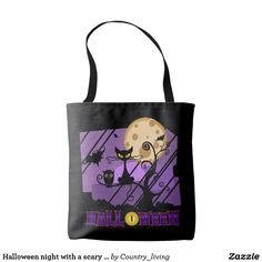 40% off! Ends monday seotember 11th, 2017. Halloween night with a scary cat purple black tote bag