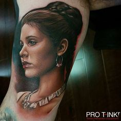 Bautiful Princess Leia portrait tattoo by Pro T-Ink ProTeam artist @sarahmillertattoo! R.I.P. Carrie Fisher!! #princessleia #carriefisher #lucasfilm #sarahmiller #protink #proteam #evo #tattoostation #tattoosetup #inktrays #inkpalette #hygienicsetup #toptattooequipment #bestartists #inkedmag #realistictattoo #tattooportrait