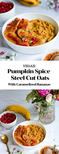 These Pumpkin Spice Steel Cut Oats with Caramelized Bananas are the PERFECT healthy, gluten-free and vegan weekend autumn breakfast. Vegan Breakfast Recipes, Brunch Recipes, Vegan Recipes, Breakfast Ideas, Fall Recipes, Diet Breakfast, Vegan Pumpkin, Pumpkin Recipes, Pumpkin Spice