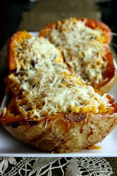 Stuffed Butternut Squash ~ pinner added ground lean turkey for an added protein boost and it came out great.