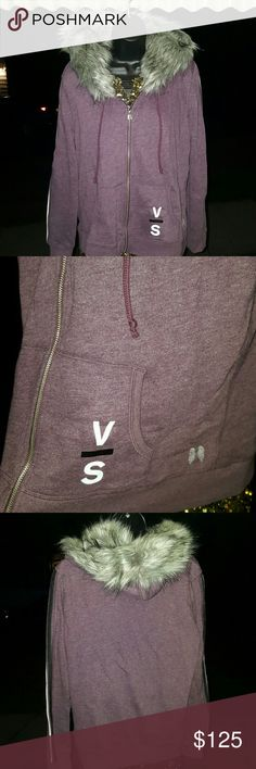 Victoria's Secret faux fur hoodie purple sequins Beautiful soft and roomy size Large. Victoria's secret faux fur hoodie. Has sequins down the arms. Angel wings zipper pull. New without tags. Never worn. Smoke free home. Price is firm. I can't go lower than what I'm asking. Victoria's Secret Sweaters