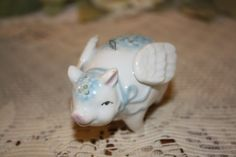 Hand Painted Blue Forgetmenots China Flying Pig by DonnaRoberson, $24.00