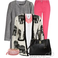 """Elephant Print Cardigan"" by jafashions on Polyvore"