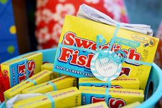 pool party favors -- Swedish Fish and an inflatable shark // find joy in the journey Check available dates for your next event at Balcones Country Club! Pool Party Favors, Pool Party Kids, Water Party, Luau Party, Birthday Party Favors, Birthday Ideas, Pool Party Themes, Pool Party Invitations, Party Box
