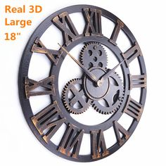 Handmade Oversized 3D retro rustic  decorative luxury art big gear wooden vintage  large wall clock on the wall for gift - http://www.aliexpress.com/item/Handmade-Oversized-3D-retro-rustic-decorative-luxury-art-big-gear-wooden-vintage-large-wall-clock-on-the-wall-for-gift/2030018139.html