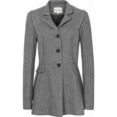 Reiss Macy Forties-Style Riding Jacket ($186) ❤ liked on Polyvore featuring outerwear, jackets, coats, coats & jackets, blazers, charcoal, charcoal blazer, stand up collar jacket, blazer jacket and stand collar jacket