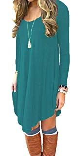 d08b68c3af DEARCASE Women s Long Sleeve Casual Loose T-Shirt Dress