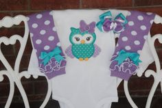 Adorable purple and blue owl onesie and leg warmer complete outfit! This outfit is perfect for a baby shower gift, birthdays, or just for play!