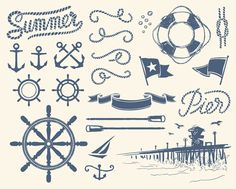 Different Marine elements vector set 01