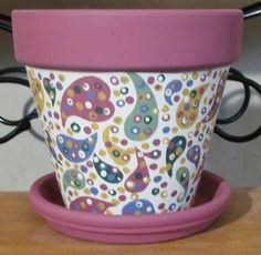 Painted Flower Pot Ideas | Hand Painted Whimsical 6 Terra Cotta Flower Pot With Paisley Design