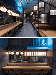 Industrial Interior Design - This Restaurant and bar goes for a warehouse chic style with metal, concrete, and wood. Inside this modern restaurant there's an industrial look created with the use of brick, concrete, and steel, but is warmed up by the inclusion of wood tables, benches, and menu boards.