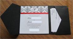 My DIY Invitations :  wedding black damask invitations diy invitations pocketfold red white Finished Invitation