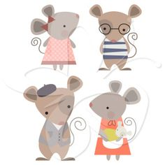 Mouse Family Clip Art Set