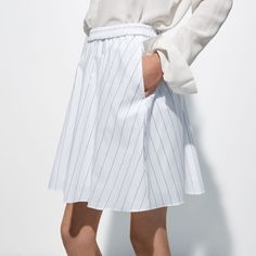 FWSS Class Historian is a lightweight, flared cotton skirt with elastic waist detail. Stripe Skirt, Cotton Skirt, Historian, Elastic Waist, White Dress, Detail, Spring, Skirts, Summer
