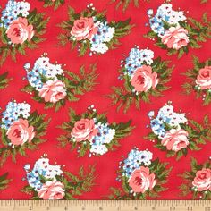 Verna Mosquera Indigo Rose Corsage Cherry from @fabricdotcom  Designed by Verna Mosquera for Free Spirit, this cotton print fabric is perfect for quilts, home décor accents, craft projects and apparel. Colors include shades of firey red, blue, ivory and green.