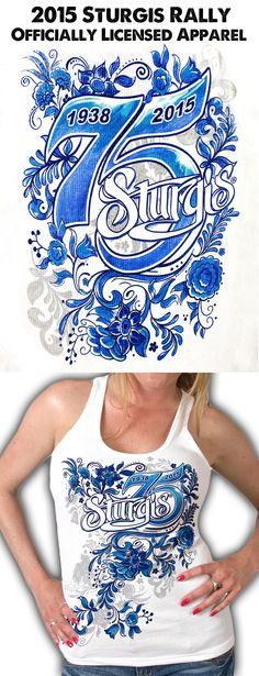 2015 Sturgis Women's Blue Floral Tank Top. Limited Edition 75th Anniversary. Now Available at the BikerOrNot Store. Shop Now: http://store.bikerornot.com/2015-sturgis-rally-ladies-blue-floral-tank-top/?utm_source=fb&utm_medium=sturgis_043015_1451&utm_campaign=043015