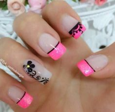 Negro Cute Acrylic Nail Designs, French Nail Designs, Gel Nail Designs, Pretty Nail Art, Beautiful Nail Art, Love Nails, Fun Nails, Cute Simple Nails, Long Acrylic Nails