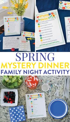 This Spring Mystery Dinner Family Night Activity is a crowd favorite. Your kids will love getting a silly menu and a mixed up dinner surprise. Step by step inst Mystery Dinner Party, Dinner Party Games, Lunches And Dinners, Dinners For Kids, Family Theme, Family Kids, Family Meals, Dinner And A Movie, Family Movie Night