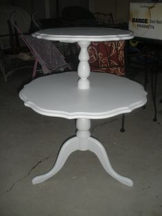 Elegant Round, Two Tiered Table With Scalloped Edges For My Side, But Painted Light