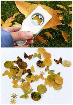 Leaf confetti - how cute is this...super fun for maybe a fairy party...and then build houses using the punched leaves as windows!
