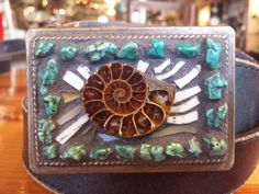 Nautilus shell turquoise Mosaic belt buckle by Studio11Online