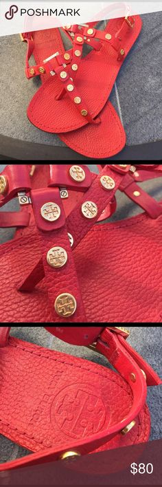 Red Leather Tory Burch Sandals Size 8 Red Leather Tory Burch Sandals Size 8. Gold buckle and rivets. Only worn a couple of times. Fit pretty true to size. Feel free to make an offer : ) Tory Burch Shoes Sandals
