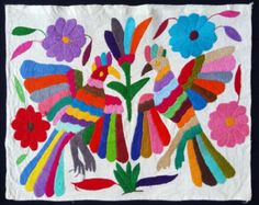 Beautiful embroidered Otomi fabric from Mexico. by seibalfolkart