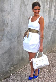 White Dress and colored shoes