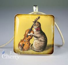 The cat playing violin scrabble pendant Mother Birthday Gifts, Mother Gifts, Scrabble Tiles, Anniversary Gift For Her, Resin Pendant, Roman Numerals, Custom Engraving, Violin, Gifts For Her