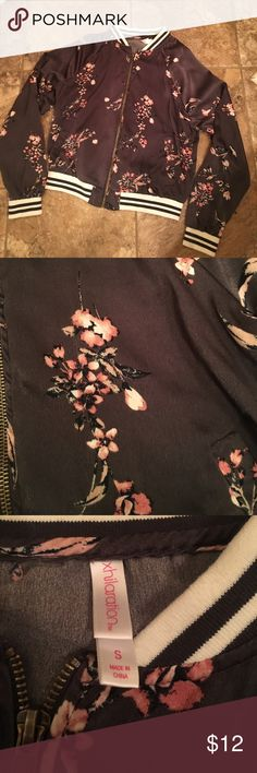 Floral bomber jacket Only worn once! Good condition. Very soft material and lightweight. Slight pilling as shown in last pic. Mossimo Supply Co Jackets & Coats