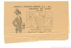 Pattern from Élégances féminines. Revue mensuelle de la grande couture parisienne 1912 _ idee de manche