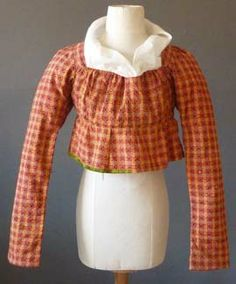 English Red checked jacket or short robe, c. 1800.