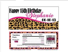 Birthday Candy Wrappers Leopard hot pink BDAY 6632 WP