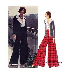 70s YVES SAINT LAURENT Evening Jacket Pattern Wide Leg Palazzo Pants Sexy Blouse Vogue 2389 Paris Original Size 8 Womens Sewing Patterns by DesignRewindFashions on Etsy