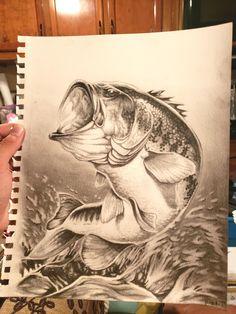 Largemouth Bass Drawing River_the_Raven Fish Drawings, Pencil Art Drawings, Animal Drawings, Wood Burning Patterns, Wood Burning Art, Boy Fishing, Fishing Tips, Fish Artwork, Owl Tattoo Design