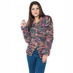 Casaco rosa e azul Suntuoso #trico #ModaInverno #CoatsCorrente