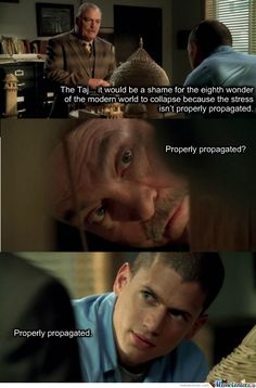 Prison Break Michael: [about warden's miniature of Taj Mahal] The Taj... it would be a shame for the eighth wonder of the modern world to collapse because the stress isn't properly propagated. Pope: Properly propagated? Michael: Properly propagated.