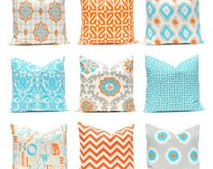 Orange Pillow Covers, Turquoise Pillows, Chevron Pillow, Decorative Throw Pillow Covers, Orange Turquoise, Cushion Covers, Southwest Decor