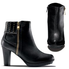 "Ultracool leatherlike black bootie has treaded lug sole for style and function. Decorative zipper and stud detail. Flexible platform. Lug sole for traction. Inside zipper for easy on/off. 3"" H heel.<br>Half sizes, order one size up."