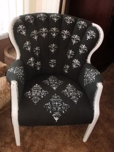 DIY  Chair Makeover   Chair spray painted with fabric spray paint then stenciled!  GORGEOUS