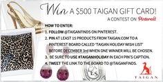 Don't forget to enter our Holiday Contest! Ends Dec. 3 - win a shopping spree on #Taigan!