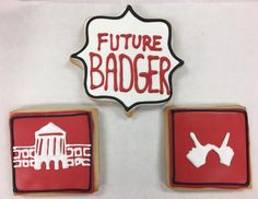 On Wisconsin! Future Badger Cookies by @cookiesbykatewi #badgers #madison #wisconsin