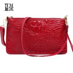63e7d6c220c4 IMCHIC Women Clutch Bags Vintage Split Leather Crocodile Pattern Envelope  Shoulder Ladies Small Messenger Handbag Female
