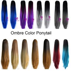 Soowee 8 Colors Wavy High Temperature Fiber Hair Ponytail Synthetic Hair Pony Tail Pink Red Clip In Hair Extension Hairpiece Fashionable Style; In