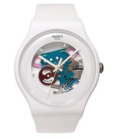 White Lacquered watch from Swatch.   Imported   White silicone strap   Round white plastic case, 41mm   Exhibition dial with colorful inner mechanisms and white hands   Swiss quartz movement   Water r