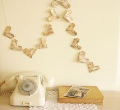 origami hearts paper garland